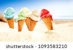 ice cream on beach and free... | Shutterstock . vector #1093583210