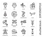 set of 16 simple editable icons ...   Shutterstock .eps vector #1093585910