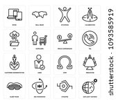 set of 16 simple editable icons ... | Shutterstock .eps vector #1093585919