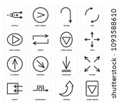 set of 16 simple editable icons ... | Shutterstock .eps vector #1093588610