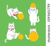 Stock vector cartoon cute actions cat playing yellow yarn vector 1093601759