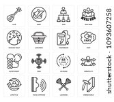 set of 16 simple editable icons ... | Shutterstock .eps vector #1093607258