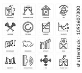 set of 16 simple editable icons ... | Shutterstock .eps vector #1093607300