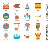 set of 16 simple editable icons ... | Shutterstock .eps vector #1093607624