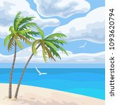 seaside landscape with palm...   Shutterstock .eps vector #1093620794