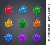 set of magic colorful crystals... | Shutterstock .eps vector #1093635548