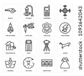 set of 16 simple editable icons ... | Shutterstock .eps vector #1093642043