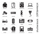 set of 16 simple editable icons ... | Shutterstock .eps vector #1093644614