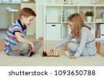 two little children playing... | Shutterstock . vector #1093650788