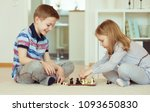 two little children playing... | Shutterstock . vector #1093650830
