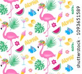 Stock vector vector tropical seamless pattern with pink flamingo tropic leaves exotic background colorful 1093651589