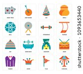 set of 16 simple editable icons ...   Shutterstock .eps vector #1093653440