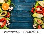 assortment of fresh vegetables... | Shutterstock . vector #1093660163