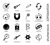 set of 16 simple editable icons ... | Shutterstock .eps vector #1093664534