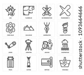 set of 16 simple editable icons ... | Shutterstock .eps vector #1093664666