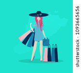 the girl is shopping flat style.   Shutterstock .eps vector #1093665656