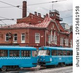 russia. moscow. blue trams on... | Shutterstock . vector #1093681958