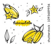 set carambola exotic fruits in... | Shutterstock .eps vector #1093689956