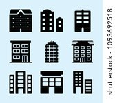 filled set of 9 apartments... | Shutterstock .eps vector #1093692518