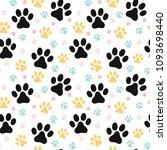 Stock vector dog paw print seamless pattern 1093698440