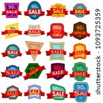 set of twenty discount stickers.... | Shutterstock . vector #1093725359
