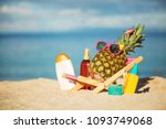 ripe attractive girl pineapple... | Shutterstock . vector #1093749068