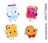 funny food with lovely faces. a ... | Shutterstock .eps vector #1093775849