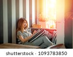 asia woman using cell phone and ...   Shutterstock . vector #1093783850