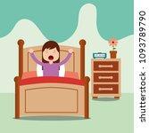 little girl wake up on bed in... | Shutterstock .eps vector #1093789790