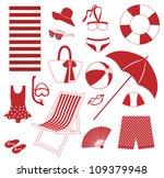 summer beach elements set | Shutterstock .eps vector #109379948