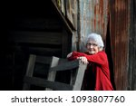 elderly woman leans against...   Shutterstock . vector #1093807760