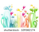 Abstract background with color wave and drops - stock photo