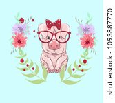 pig in a sunglasses and in a... | Shutterstock .eps vector #1093887770