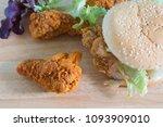 hamburger with fried chicken... | Shutterstock . vector #1093909010
