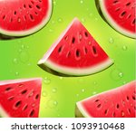 watermelon realistic on green... | Shutterstock .eps vector #1093910468