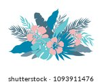 blue colors palm leaves and... | Shutterstock .eps vector #1093911476