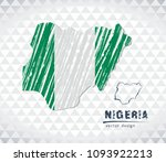 nigeria vector map with flag... | Shutterstock .eps vector #1093922213