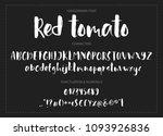 red tomato. handdrawn ink brush ... | Shutterstock .eps vector #1093926836