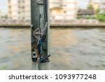 broken electric pole and... | Shutterstock . vector #1093977248