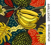 vector tropical pattern in... | Shutterstock .eps vector #1093977899