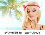 beautiful blonde with a bright... | Shutterstock . vector #109400426