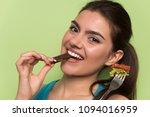 beautiful young happy woman... | Shutterstock . vector #1094016959