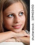 superb girl in a leopard jacket ... | Shutterstock . vector #109403450
