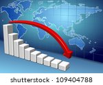 3d down chart and red arrow with a map of world in the background / world economy slowing down - stock photo