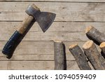 men top view of old axe and... | Shutterstock . vector #1094059409