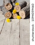 Small photo of Short accurate chopped wirewoods with small beautifull yellow dandelions between them on fair wooden floor.