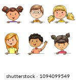 bright funny portraits children ... | Shutterstock .eps vector #1094099549