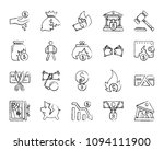 bankruptcy charcoal icons set.... | Shutterstock .eps vector #1094111900
