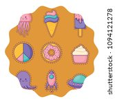 donuts and ice creams pattern  | Shutterstock .eps vector #1094121278