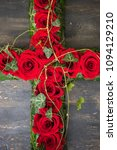red roses in floral funerary... | Shutterstock . vector #1094129210